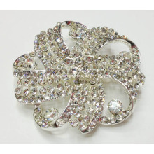 Silver Metal strass sapato clipes; Sparkling Flower Shoe Clips